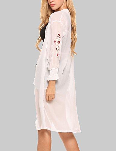 Finejo Damen Sommer Chiffon Strickjacke Cardigan Kimono Wasserfall Langarmshirt Tunika Shirts Bluse Hemd Oberteil Strand Tops Outwears Weiß