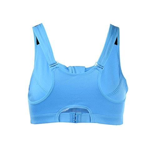 Eufance Damen mit Reißverschluss Yoga Fitness Stretch Sport BHs Push Up Sportunterwäsche Trägertop Sports Bra Fitnessanzug Bustier Blau