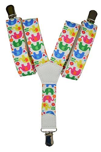 Tirantes 'Y-Forma' para los Niños 1-5 años con Elefant Patrón. Blanco