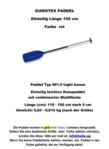 Remo Tipo 601.0Light kanoe Descripción del producto) canoa remo ligero con superficie verkleinerter hojas Longitud (cm): 110-150cm después de 5cm Peso: 0,64-0,815kg (según el tamaño) remo disponibles colores: azul-amarillo-rojo-negro