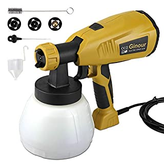Paint Sprayer, 1300ml Container Spary Paint Gun 800 ml/min, 3 Painting Modes, 3 Nozzle Sizes(1.8mm / 2.6mm / 3.0mm), Fence Garden Outdoor Paint Sprayer with HVLP Technology, 6.6ft Cable