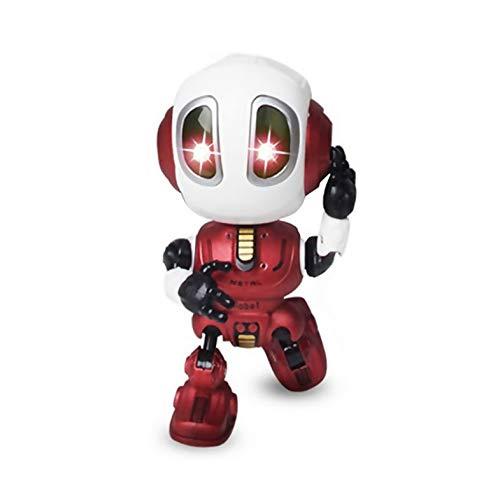 CamKpell Robot parlanti per Cambia Voce per Bambini Mini Robot Giocattolo in Metallo con Corpo posabile Giocattoli educativi Intelligenti con Stelo di apprendimento - Vino Rosso