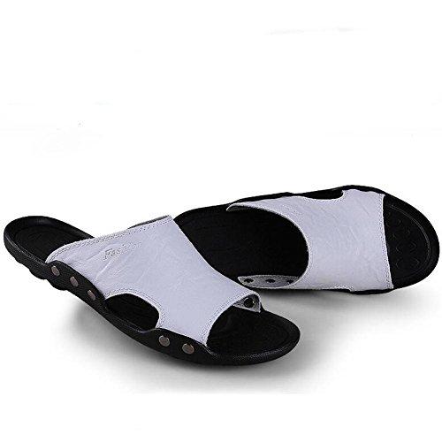 Männer Leder Slipper handgefertigte Vintage Flip Flops Mode und bequeme Sandalen White