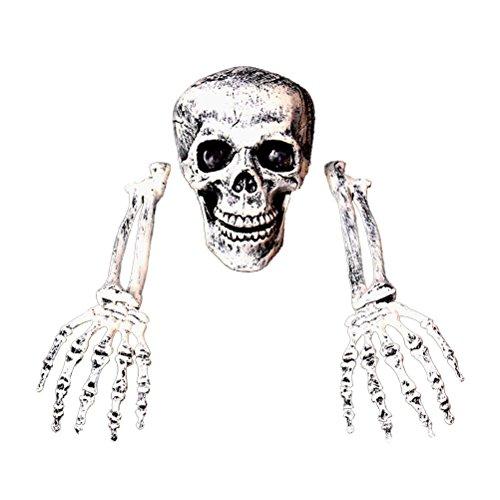 Amosfun 3 Stück Halloween Schädel Dekor Horror Begraben Lebendige Skelett Schädel Garten Yard Rasen Dekoration Ein Schädel Kopf Zwei Skelett Hände Halloween Dekoration
