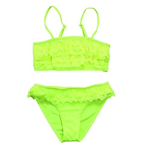 Baby Bademode,Binggong Infant Kinder Mädchen Solide Rüschen Sommer Bademode Bikini Set Outfits Baby Tankini Strand Badeanzug (164CM, Gelb)