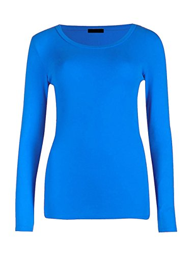 Momo&Ayat Fashions Mesdames Jersey Manches Longues Col Rond Basique T-Shirt Haut EUR Taille 36-54 Turquoise