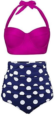 EasyMy Damen Hohe Taille Bikini Vintage Bademode, Rose Rot, EU 48-50Tag Size 5XL