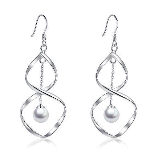 POPLYKE Perlenohrringe Sterling Silber groß Unendlichkeit Twist Wave Haken Ohrringe für Frauen Mädchen -