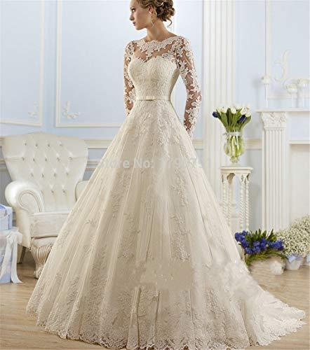 ELEGENCE-Z Hochzeitskleid, Europa und Amerika luxuriöse Slim Fit hochwertige Spitze Sexy Perspektive Rundhals Langarm Open Back manuelle Stickerei Kleid US8
