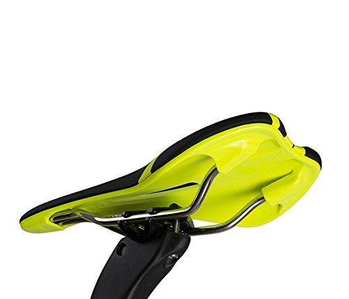 FLYGEND Fahrrad Gel Schaum Leder Sattel-Ergonomie Entwickelt Wasserdicht & Anti-Schock Komfortable Fahrrad Kissen Sattel 285X142mm,Yellow -