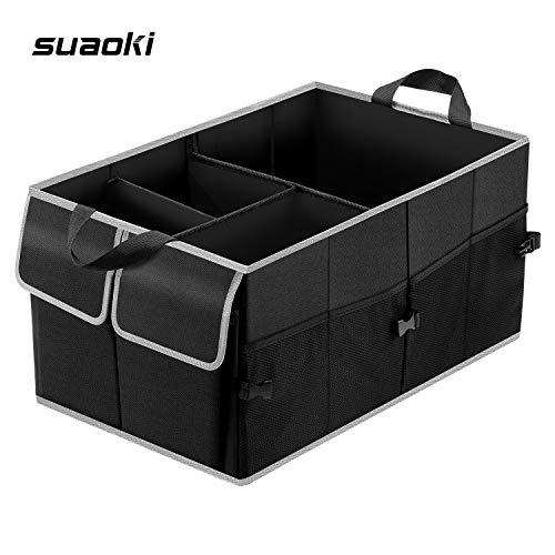 SUAOKI Organizador de maletero coche plegable, tamaño ajustable, contenedor de almacenamiento antideslizante con múltiples compartimentos, hecho de tela Oxford 600D duradera