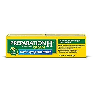 Preparation H Hemorrhoidal Cream, Maximum Strength Pain Relief, Smooth Cream Formula with Aloe 0.9 oz (26 g)