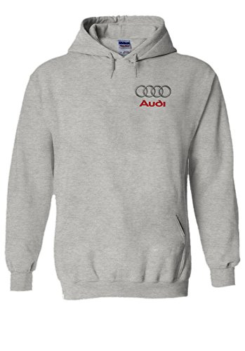 Audi Logo S R8 Line Pocket Print Novelty Grey Men Women Unisex Hooded Sweatshirt Hoodie-S (Grau Hoodie Logo Sweatshirt)