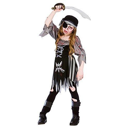 (L), Zombie, Geist Mädchen Pirat, Halloween-Kostüm für Fasching, groß, für Kinder Kinder 8-10 Jahre (Piraten Zombie Kostüm Für Mädchen)