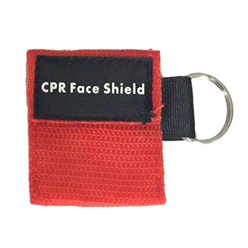 BIYI 2 Stücke Tragbare Erste Hilfe Mini CPR Keychain Maske/Gesichtsschutz Barrier Kit Health Care Masken 1-Wege-Ventil CPR Maske (rot) ()