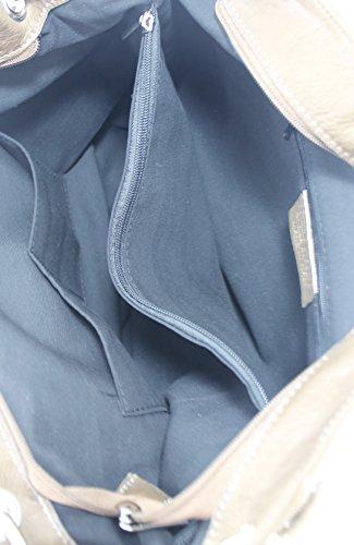 CTM Borsa da Donna Elegante con Manici, 35x29x15 cm, Vera Pelle 100% Made in Italy Fango