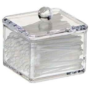 HQdeal Acrylique Boite à Coton Demaquillant Distributeur de Coton Boîte de Rangement pour Cosmétiques Support étagère Simple