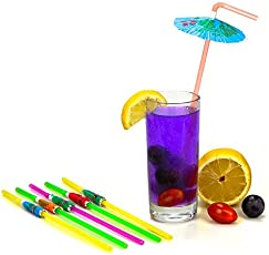RIANZ Plastic Umbrella Designed Drinking Straws for Soft Drink, Juice, Mocktail and Milk Shake (Multicolour)