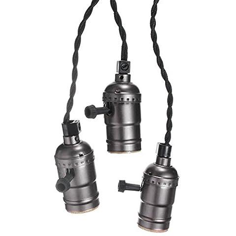 KINGSO E27 Douille Edison Pententif Lustre Suspensions Vintage Antique Rétro Adaptateur de Lampe 110-220V Trois Douilles Set Avec Interrupteur et Câble à Prise Européenne Noir