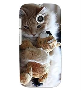 ColourCraft Cute Cat Cub Design Back Case Cover for MOTOROLA MOTO E