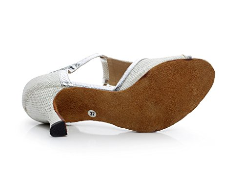 Minitoo QJ7026 femmes T-strap écoles de danse chaussures à Paillettes Argent - argent
