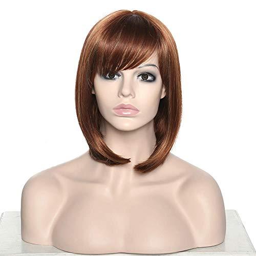 Cosplay Brown Highlight Ombre Gerade Kurze Synthetische Perücken Für Frauen Hochtemperaturfaser 16 Zoll -