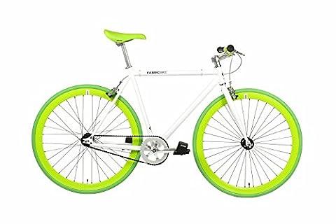 FabricBike- Vélo Fixie Blanc, Fixed Gear, Single Speed, Cadre Hi-Ten Acier, 10Kg (Space White & Green, L-58)