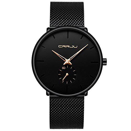 YEARNLY Herren-Armbanduhr Casual Business Armbanduhr Ultra Dünn Wasserdicht Edelstahlband Quarzuhr Schwarz