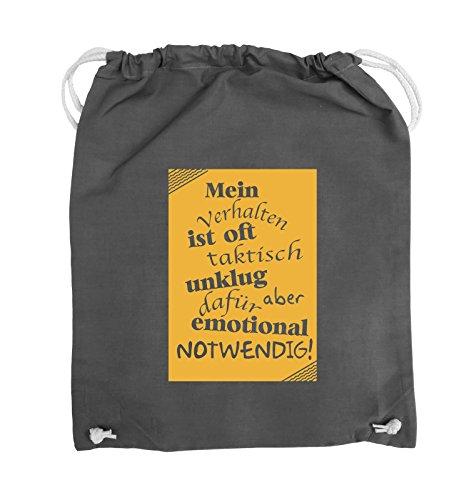 Comedy Bags - Mein Verhalten ist oft taktisch unklug - ZETTEL - Turnbeutel - 37x46cm - Farbe: Schwarz / Silber Dunkelgrau / Gelb