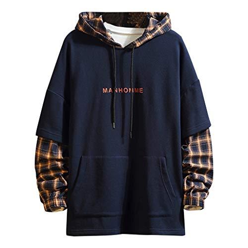 SANFASHION Männer Retro Langarm-Kapuzenpullover MANHOMME mit Kapuze Sweatshirt Tops Jacke Mantel Outwear