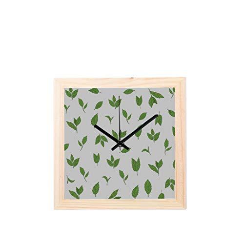 Yushg Große Uhr Hauptdekor grünes Teeblatt gesundes Nicht tickendes Quadrat stilles hölzernes Diamant Anzeigen Wanduhren Anstrich Vorwahlknopf Küche Schlafzimmer Dekor Borduhren Wand Dekor