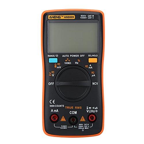 AN8009 Digital Multimeter Handheld tragbar Auto Range Echtes RMS AC/DC-Spannung Elektronisches Messgerät Hintergrundbeleuchtung LCD Bildschirm MEHRWEG VERPACKUNG