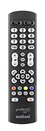 Meliconi PRATICO 2 LIGHT Telecomando Universale 2 in 1 per TV e Decoder Terrestre o Satellitare, Compatibile con Tutte le Principali Marche e Modelli, Facile da Programmare