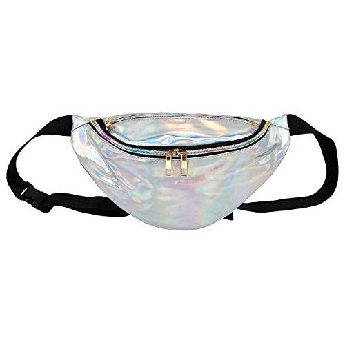 Faletony Hipster Laser PU-Leder Hüfttasche Bauchtasche Gürteltasche Rucksack Sling Bag für Herren Damen für Sport und Outdoor Aktivitäten (Silber#01)