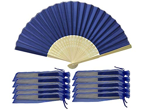 Rangebow SHF08 Bleu roi/bleu marine Lot de 10 gros éventail en soie Bambou côtes de mariage FAVEUR-cadeau