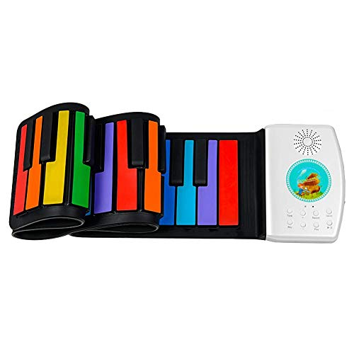 ahomi 49 Tasten Digital Keyboard Roll Up Piano Geschenk für Kinder Kind Bunte Spielzeug