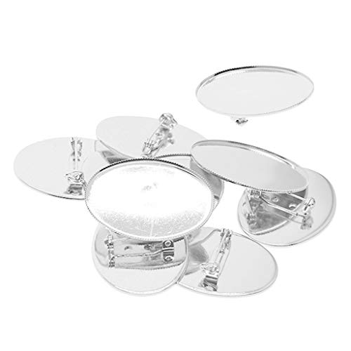 10 Stücke Cabochon Brosche Blank Revers Pin Abzeichen Basis Pin Back Taste Basis Metall - Platin, 40 x 30 mm