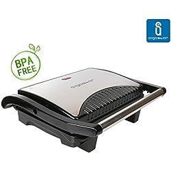 Aigostar Hett 30HHJ - Parrilla, grill, sandwichera y máquina de panini, 1000 W de potencia, asa de toque frío, placas antiadherentes. Libre de BPA, color plata y negro. Diseño exclusivo.