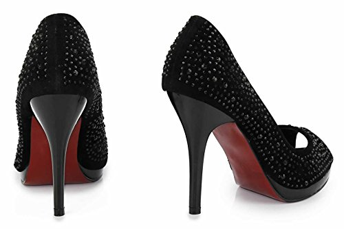 Sandaletten Damen Mit Absatz Schwarz Frauen Spitz Gericht Pumpen Strass Partei Designer-Schuhe Größe 3-8 Stil 3 - Schwarz