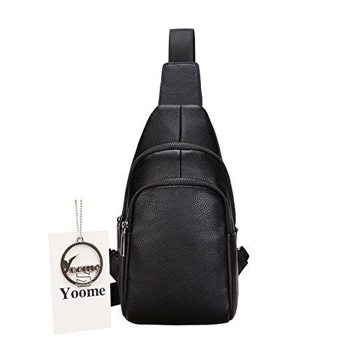 Yoome Herren Sling Bag, echt Leder Brust Schulter Taschen Casual Crossbody Bag Travel Wandern Daypacks mit Kopfhörer Loch, praktisch und stylisch, schwarz, Small