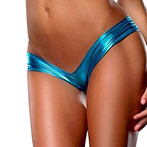 iiniim Damen Bikini Lackleder Dessous Reizwäsche Nachtwäsche Lingerie G-string Unterhose Unterwäsche
