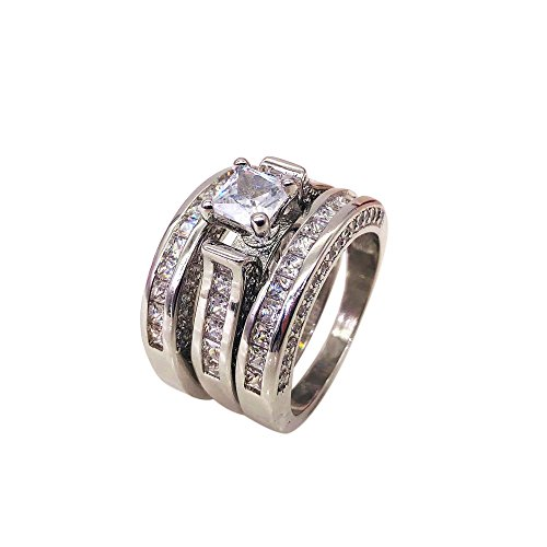 Diamond Engagement Ehering Ring Set YunYoud finger edelstahlring weissgold wickelring sterling günstige ringe modeschmuck damen trauringe freundschaftsringe ()
