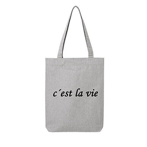 c´est la vie Bag Frauen Shopper grau Jute Beutel Handtasche Strand Sommer faltbar klein bedruckt Motiv Print (3-U760-Grau)
