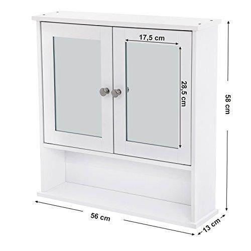 Spiegelschrank mit Ablage aus Holz 56cm - 4