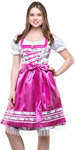 Bavarian Clothes Dirndl Damen Pink Weiß mit Satinschürze, 3 teiliges Set '7000' Midi Trachten Dirndl Blumenmuster Dirndlbluse (Größe ()