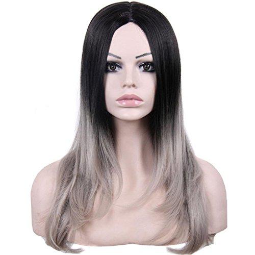 Meylee Perücken Mode direkt Farbverlauf Schwarz Mix grau Premium Kunsthaarperücke für Frauen mit kostenlose Perückekappe und Kamm , a