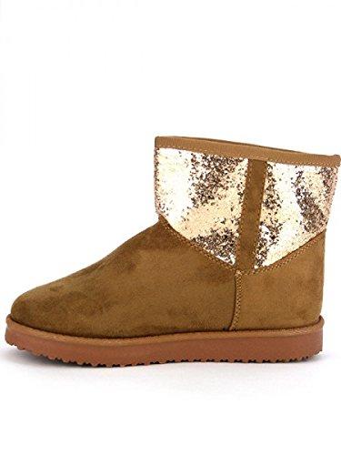 Cendriyon, Boots Fourrées UGTA Paillettes Chaussures Femme Caramel