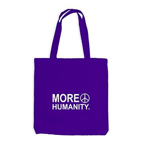 Jutebeutel - More Humanity - Love Peace Frieden No War Violett