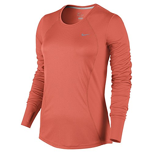 Nike Damen Racer Long Sleeve Lauf-Langarmshirt, Turf Orange/Reflective Silber, M (Sleeve Kabel Long Womens)