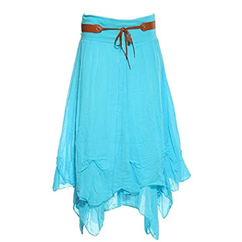 Ladies Hi Waisted Cotton Skirt Festival Belted Boho Gypsy Tiered Asymmetric Hitched Hem Long Maxi Skirt Festiva (XXL 16 18,